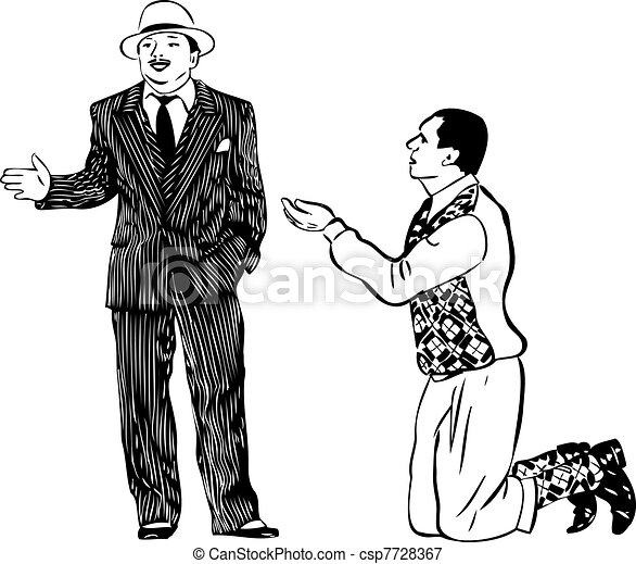 A Man On His Knees Asking The Men In Striped Suit