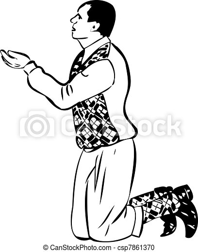 Sketch Of Man On His Knees To Beg