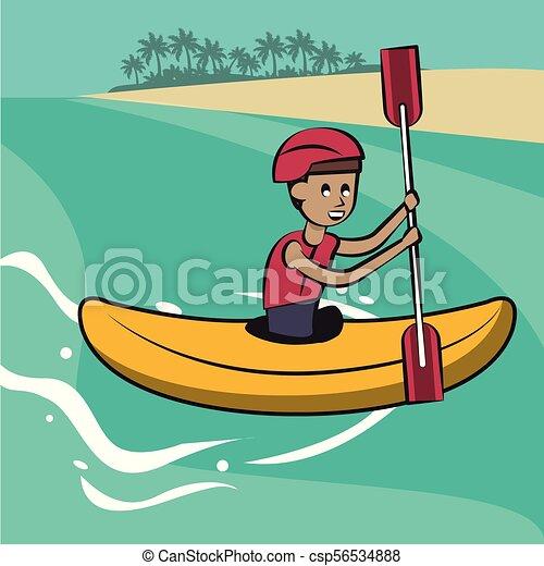 Man on kayak cartoon vector illustration graphic design.