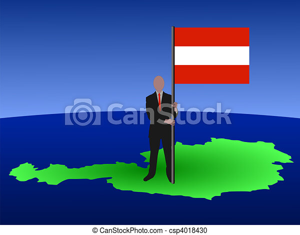 man on map of Austria with flag - csp4018430