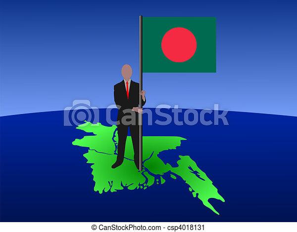 man on map of bangladesh with flag - csp4018131