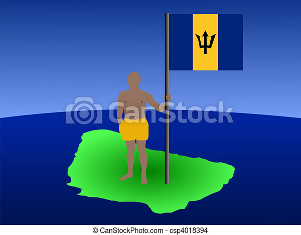 man on map of Barbados with flag - csp4018394