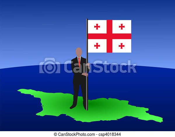 man on map of georgia with flag - csp4018344