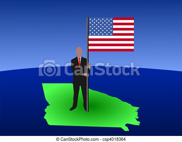 man on map of Georgia with flag - csp4018364