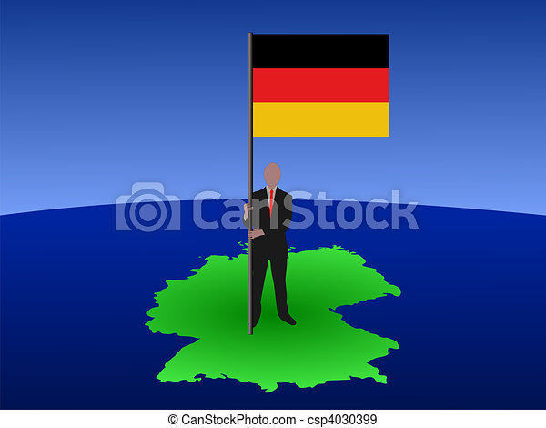 Man on map of Germany with flag - csp4030399