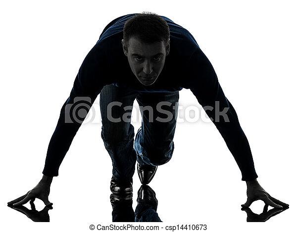 man on starting blocks silhouette full length - csp14410673