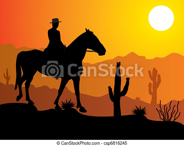 vector man on the horse in desert at sunrise or sunset rh canstockphoto com desert sunset clip art free black and white Sunrise Over Water Clip Art