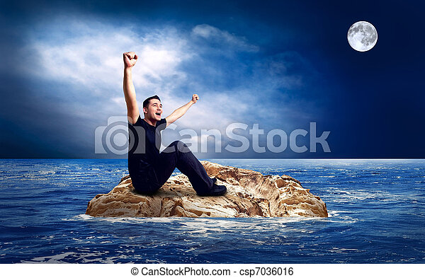 Man on the island in sea. - csp7036016