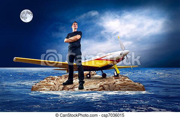 Man on the island in sea. - csp7036015