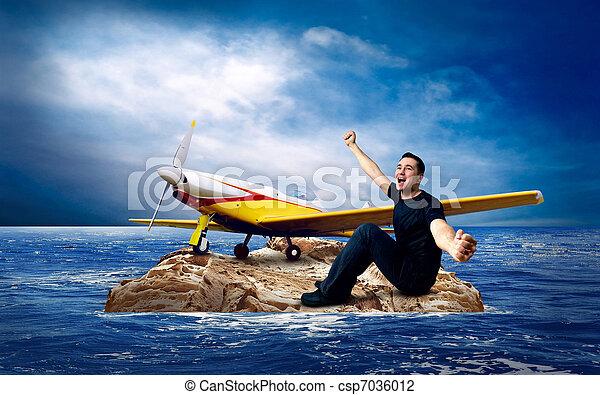Man on the island in sea. - csp7036012