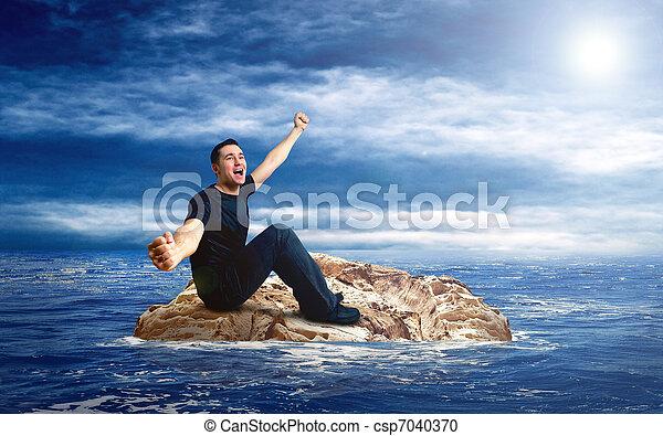 Man on the island in sea. - csp7040370