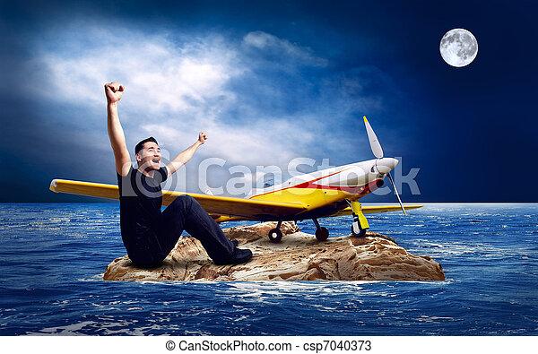 Man on the island in sea. - csp7040373