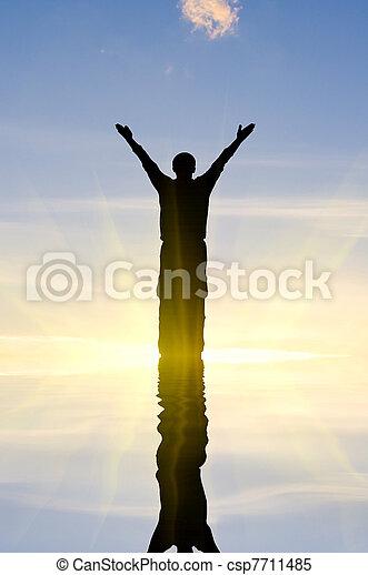 man on the sunrise - csp7711485
