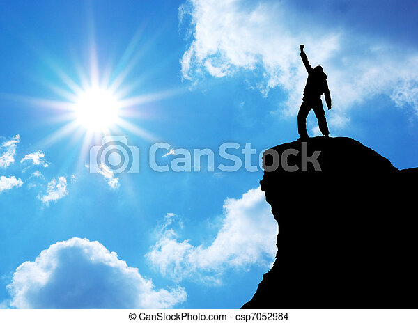 Man on top of mountain - csp7052984