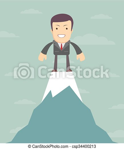 Man on top of the world, vector illustration - csp34400213