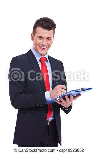 man, ongedwongen, klembord, zakelijk - csp10323852