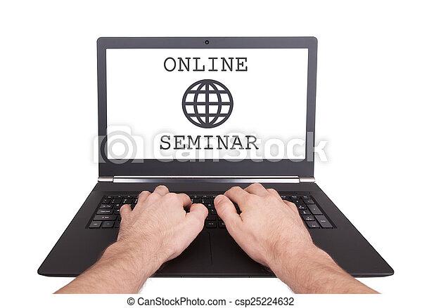 man, online, cursus, werkende , draagbare computer - csp25224632