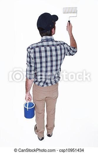 Man painting a wall - csp10951434