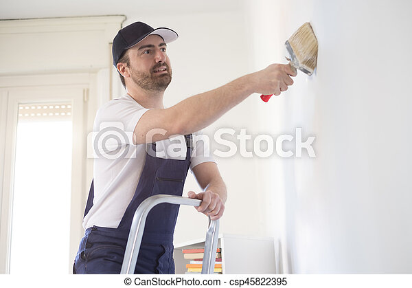 Man painting one wall on a ladder - csp45822395