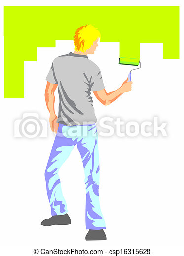 man painting the wall painting the house wall with a roller and