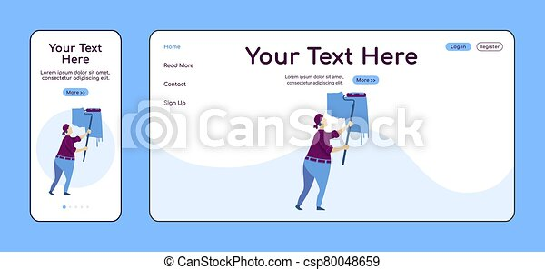 Man painting wall adaptive landing page flat color vector template. Construction service mobile and PC homepage layout. Repairman one page website UI. Home repairs webpage cross platform design - csp80048659