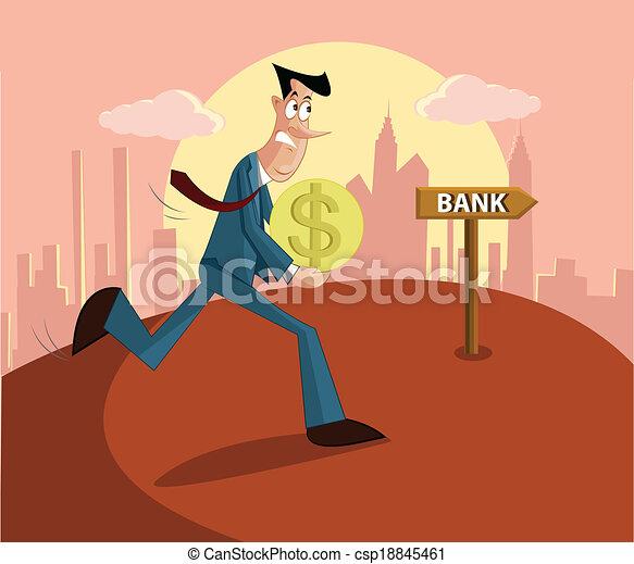 man paying loan in bank - csp18845461