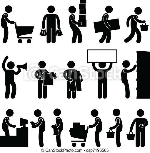 Man People Shopping Cart Queue Sale - csp7196565
