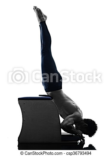 Man Pilates Chair Exercises Fitness Isolated One Caucasian Man Exercising Pilates Chair Exercises Fitness In Silhouette Canstock