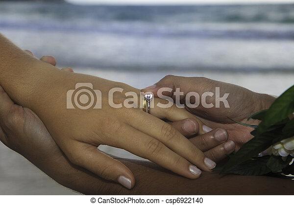 man places a wedding ring - csp6922140