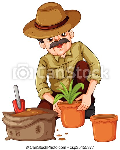 Man planting plant in the pot - csp35455377