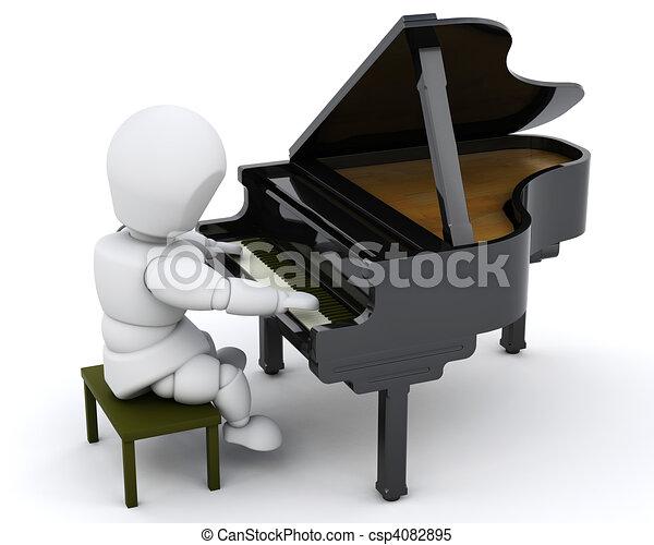 man playing a grand piano - csp4082895