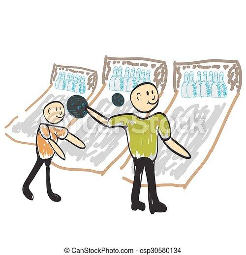 man playing bowling illustration - csp30580134