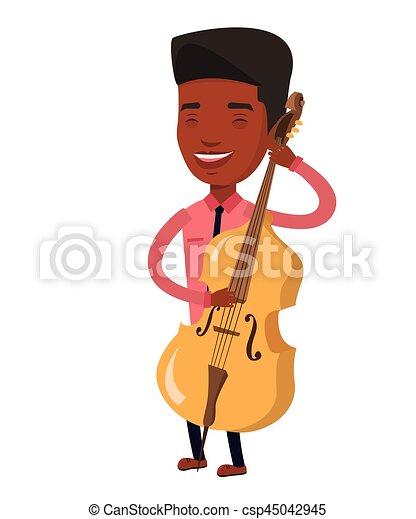 Man Playing Cello Vector Illustration