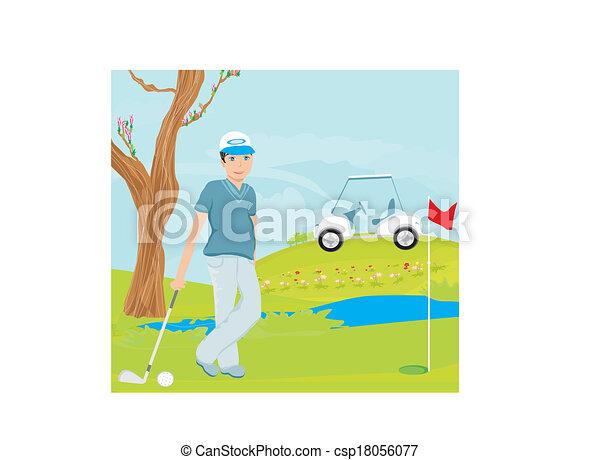 Man playing golf - csp18056077