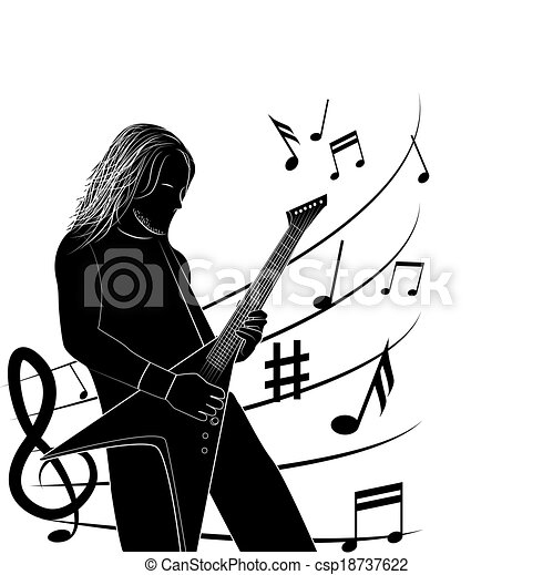 Man Playing Guitar Silhouette Vector