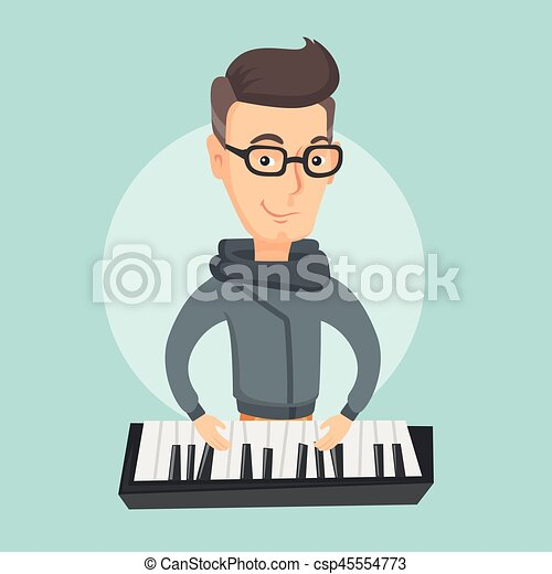 Man Playing Piano Vector Illustration