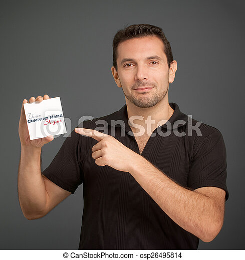 Man pointing at a blank card - csp26495814