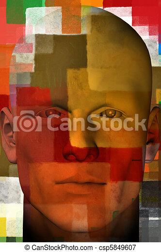 man portrait with squares pattern 3d illustration - csp5849607