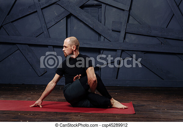 Man Practicing Advanced Yoga A Series Of Poses Sport Concept