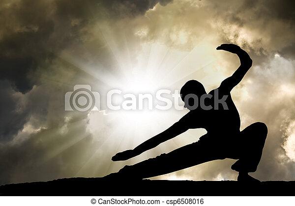 Man Practises Martial Arts Background - csp6508016