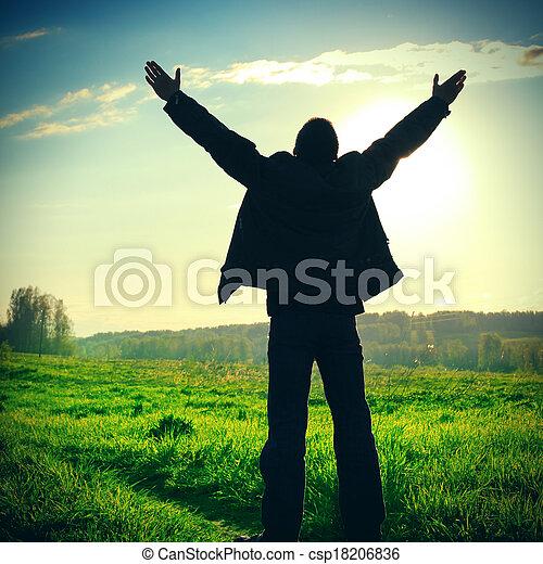 Man Praying Outdoor - csp18206836