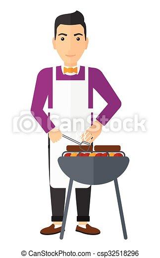 Man preparing barbecue. - csp32518296