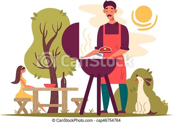 Man preparing barbecue on grill - csp46754764