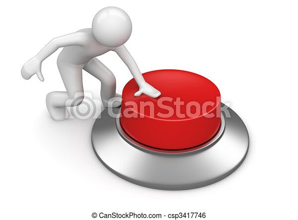 Man pressing red emergency button - csp3417746