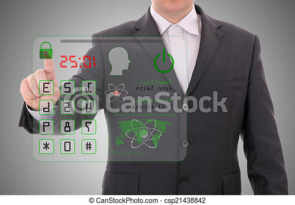 Man pressing the access card, security data concept - csp21438842
