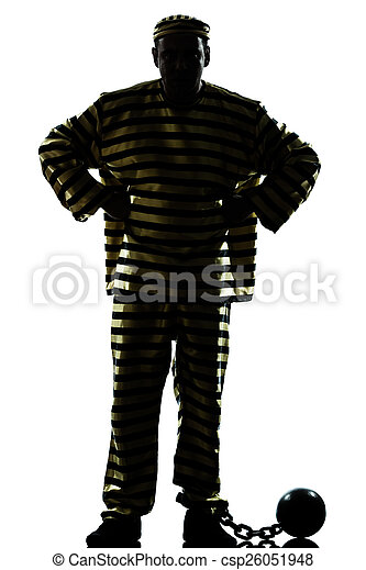 one man prisoner criminal with chain ball silhouette in studio
