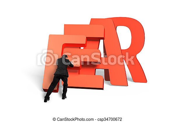 Man pushing domino of red fear word falling - csp34700672