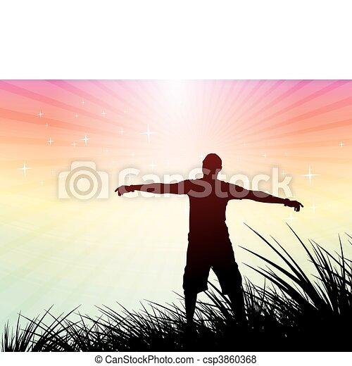 man raising his hand - csp3860368