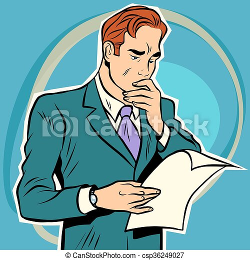 man reading document - csp36249027