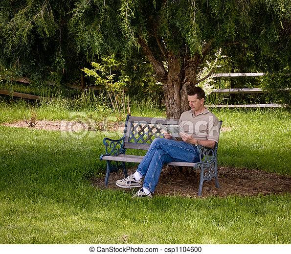 man reading newspaper  tree man sitting   garden
